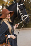 Beautiful girl with black horse Royalty Free Stock Photos