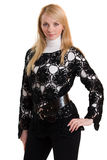 Beautiful girl in black knitted jacket. Royalty Free Stock Photography