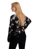 Beautiful girl in black knitted jacket. Stock Images