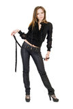 Beautiful girl in black leather pants. Isolated on white Royalty Free Stock Photos