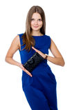 Beautiful girl with black purse Stock Image