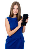 Beautiful girl with black purse Royalty Free Stock Images