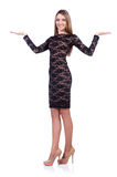 Beautiful girl in black short dress isolated on Royalty Free Stock Photography