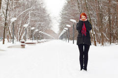 Beautiful girl in black stands outdoor at winter day Stock Images
