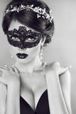 Beautiful Girl in black veil mask. Masquerade. Makeup. Hairstyle Royalty Free Stock Images