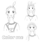 Beautiful girl black and white illustration. Nice template for coloring books Stock Photos