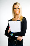 Beautiful girl with a blank clipboard Royalty Free Stock Images