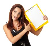 Beautiful girl with blank paper Royalty Free Stock Photos