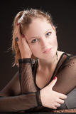Beautiful girl 7. A blond beautiful girl in black dress Royalty Free Stock Image