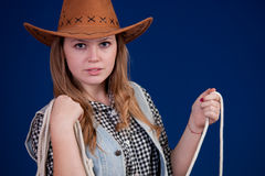 Beautiful girl 3. A blond beautiful girl in cowboy dress Stock Image