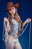 Beautiful girl 2. A blond beautiful girl in cowboy dress Royalty Free Stock Image