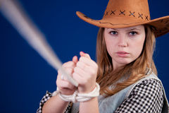 Beautiful girl 2. A blond beautiful girl in cowboy dress Stock Photography
