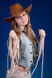 Beautiful girl 2. A blond beautiful girl in cowboy dress Royalty Free Stock Photo