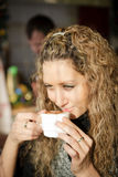 Beautiful girl with blond curly hair Royalty Free Stock Images