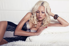 Beautiful girl with blond hair Stock Images