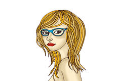 Beautiful girl with blond hair wearing glasses. Drawing. Portrai Stock Images