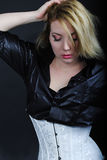 Beautiful girl blonde in black shirt Stock Image