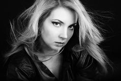 Beautiful girl blonde in black shirt Stock Photography
