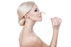 Beautiful girl blonde hairstyle. royalty free stock images
