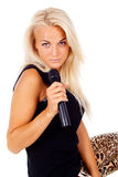 Beautiful girl blonde with microphone Stock Photography
