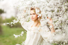 Beautiful girl  in  blossom garden on a spring day Stock Photos