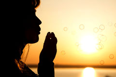 Beautiful girl blow bubbles on nature Stock Image
