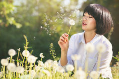 Beautiful girl blowing dandelion stock images