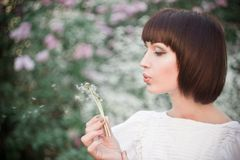 Beautiful girl blowing on a dandelion. Beautiful young woman in a white dress blowing on a dandelion near lilacs among greens in a park Royalty Free Stock Photo