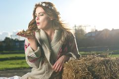 Beautiful Girl Blowing Hay Stock Images