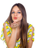 Beautiful Girl Blowing a Kiss Royalty Free Stock Photo