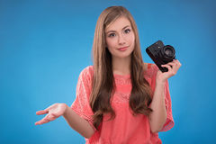 Beautiful girl on blue  background Royalty Free Stock Images