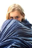 Beautiful girl in blue blanket Royalty Free Stock Photo