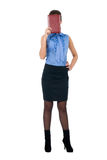 The beautiful girl in a blue blouse Stock Images