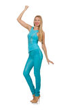 Beautiful girl in blue clothing on white Stock Photography