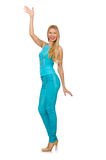 Beautiful girl in blue clothing on white Royalty Free Stock Photos