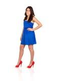 Beautiful girl with blue dress Stock Photos