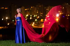 Beautiful girl in a blue dress Stock Photography