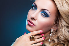 Beautiful girl in blue dress Royalty Free Stock Photos