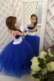 Beautiful girl in blue dress Stock Photo