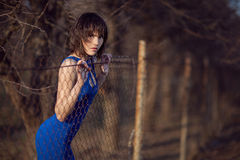 Beautiful girl in blue evening dress. Stock Photo