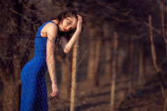 Beautiful girl in blue evening dress. Stock Photography
