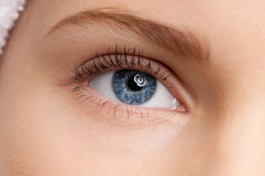 Beautiful girl blue eye make-up zone Royalty Free Stock Photography