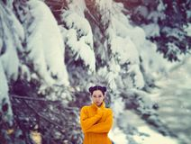 Beautiful girl with blue eyes in a yellow sweater under a snow-covered tree. A girl in a fairy magical winter forest. Creative colors and Artistic processing Royalty Free Stock Image
