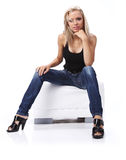 Beautiful girl in blue jeans Royalty Free Stock Photos