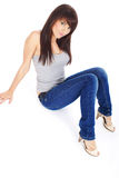 Beautiful girl in blue jeans Royalty Free Stock Images