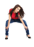Beautiful girl in blue jeans Royalty Free Stock Image