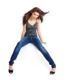 Beautiful girl in blue jeans Stock Photos