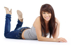 Beautiful girl in blue jeans Royalty Free Stock Photography