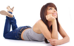 Beautiful girl in blue jeans Royalty Free Stock Photo