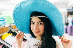 Beautiful girl in blue sombrero Royalty Free Stock Photography